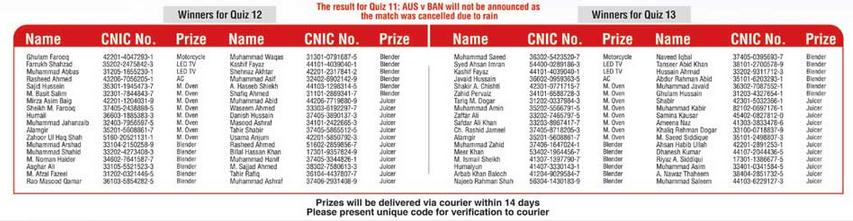 ORIENT winner List of QUIZ 12 & 13