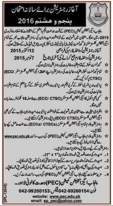 5th and 8th class Annual Exams registration Schedule