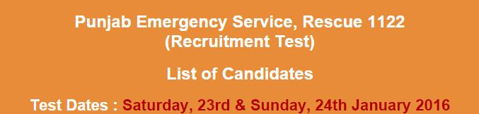 Rescue 1122 Short List of Candidates