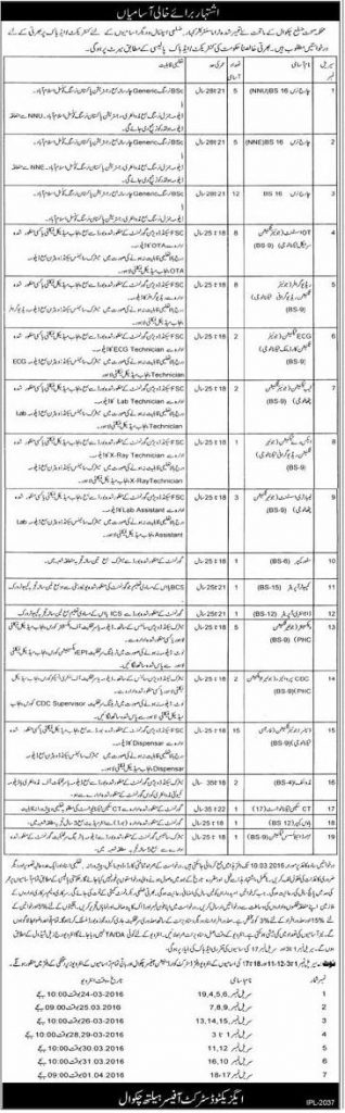 health department chakwal jobs