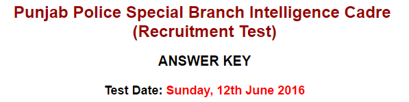 Punjab Police Special Branch Intelligence Cadre NTS Answer keys result