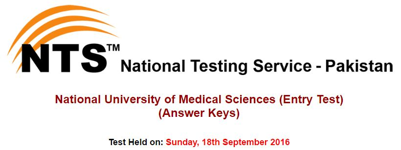 National University of Medical Sciences (Entry Test) (Answer Keys)