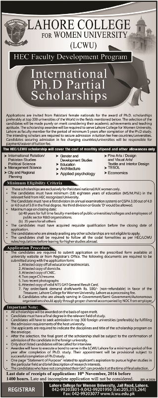 international ph.d partial scolorship october 2016