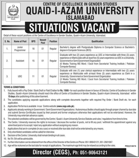 Jobs in Quaid-i-Azam University