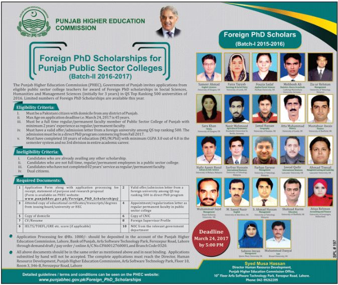 Punjab Higher Education Commission Foreign PhD scholarships 2017