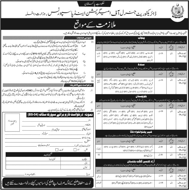 Directorate General of Immigration & Passports Jobs 2017