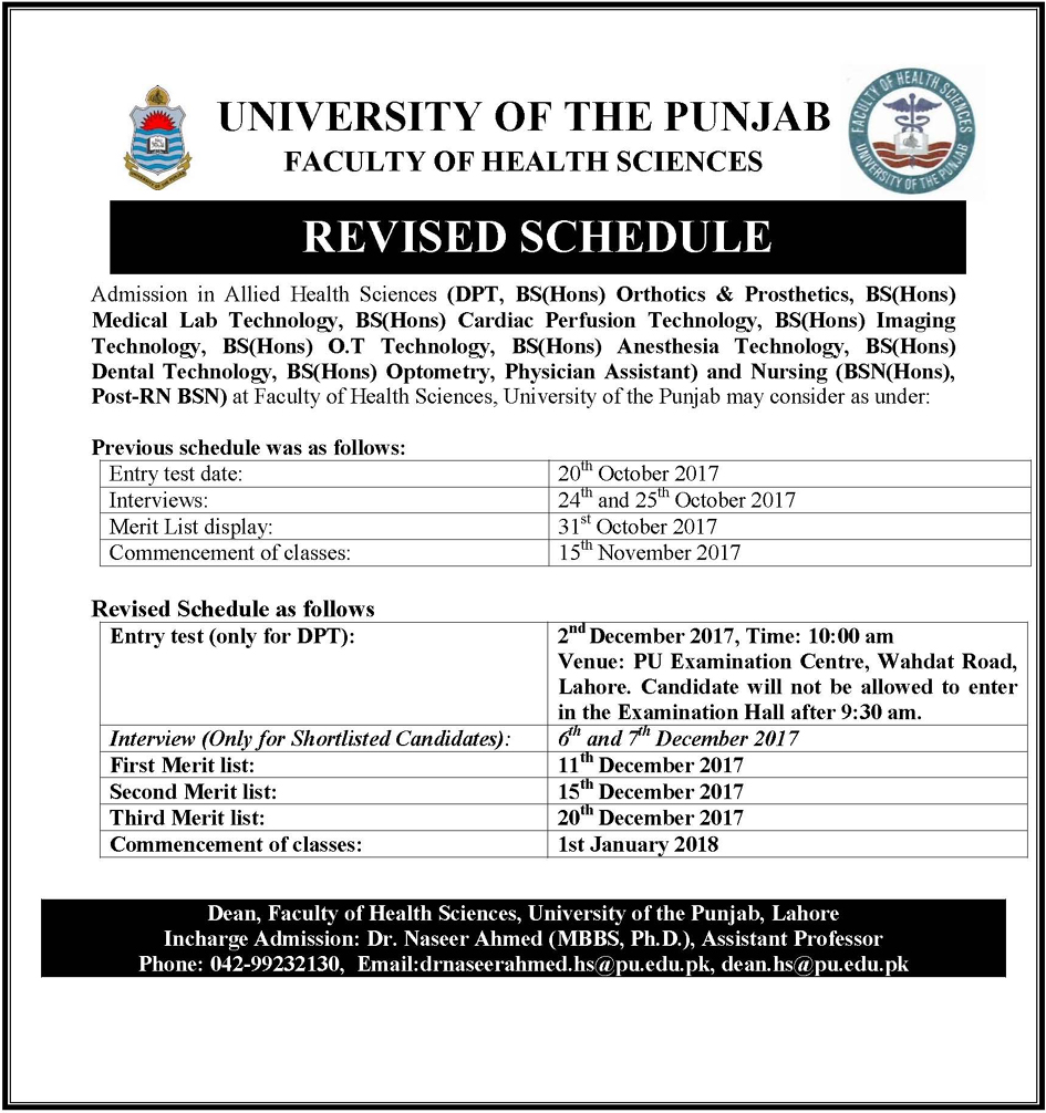 Revised Schedule of Admission In Allied Health Sciences & Nursing Session 2017 – 2022