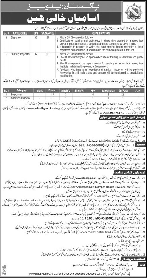 PAKISTAN RAILWAYS Headquarters Office Lahore jobs