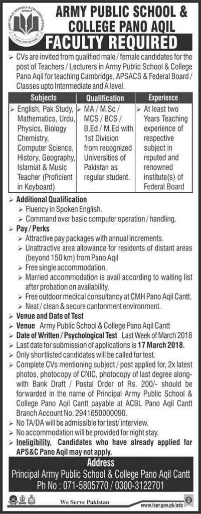 jobs in army public school & College Pano aqil