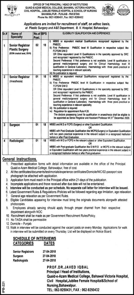 Jobs in Quaid e Azam Medical College Bahawalpur