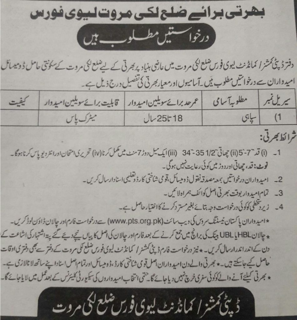 Deputy Commissioner & Commandant District Lakki Marwat PTS Jobs