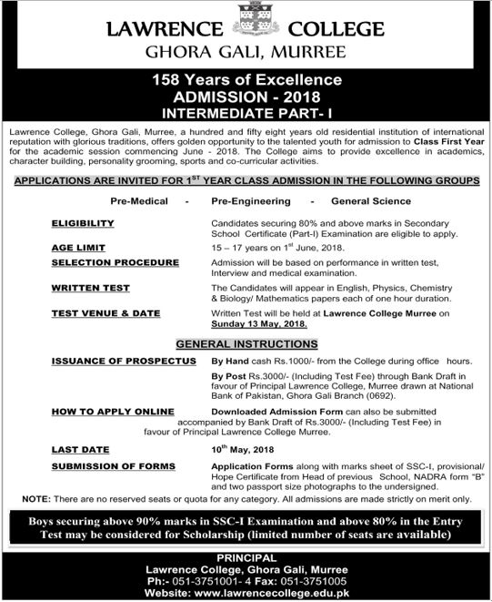 lawrence college murree inter admission 2018
