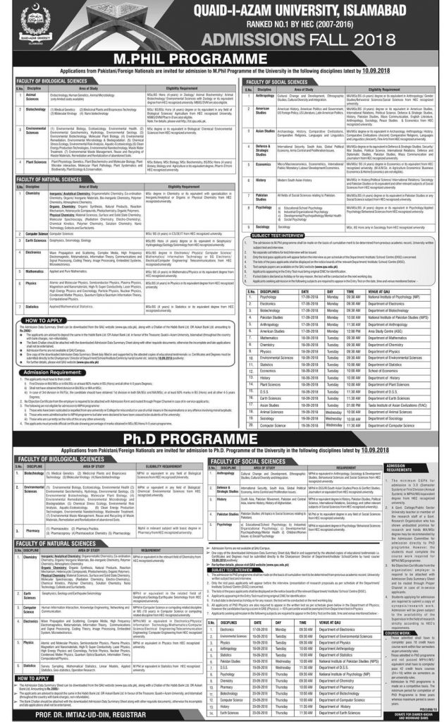 quaid e azam university islamabad admission 2018