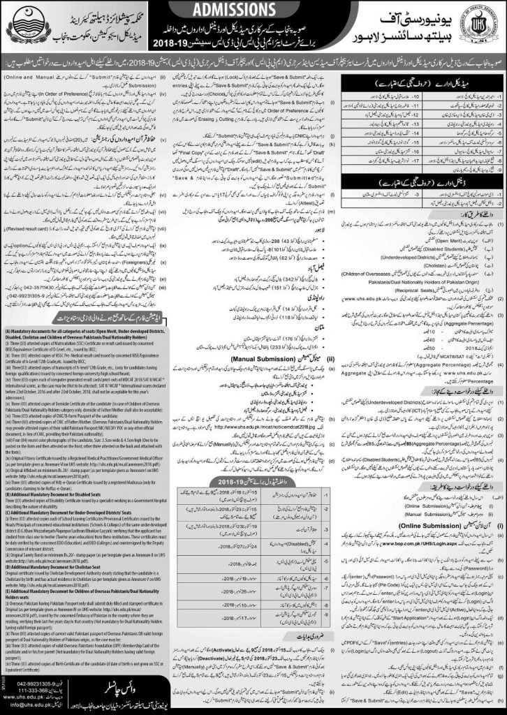 admission in government medical and dental colleges