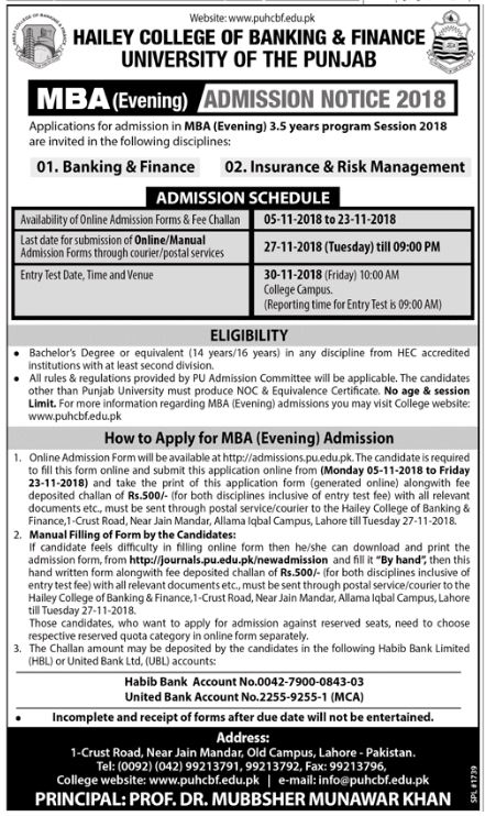 Hailey College of Banking & Finance University of the Punjab Admission