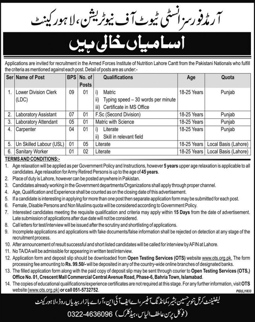 jobs in Armed Forces Institute of Nutrition Lahore