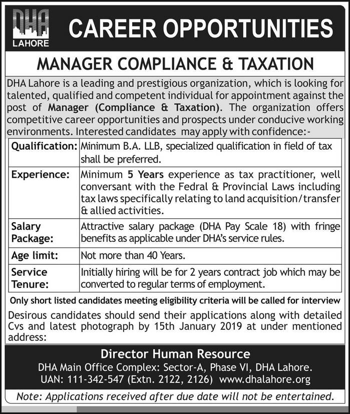 DHA Lahore JOBS