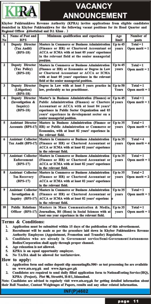 KPRA NTS Jobs Advertisement