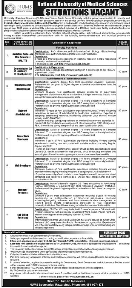 NATIONAL UNIVERSITY OF MEDICAL SCIENCES SITUATIONS VACANT