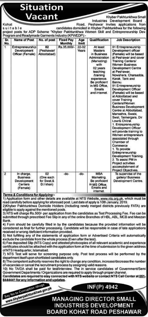 Small Industries Development Board, Peshawar jobs