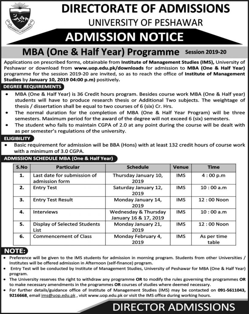 MBA (One & Half Year) Programme Session 2019-20