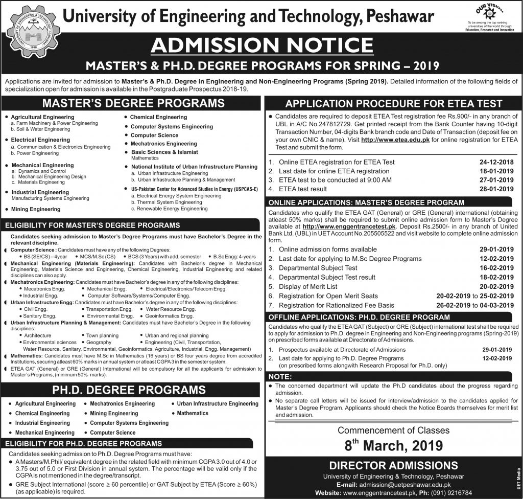 UET Peshawar MS & Ph.D Spring Admission 2019