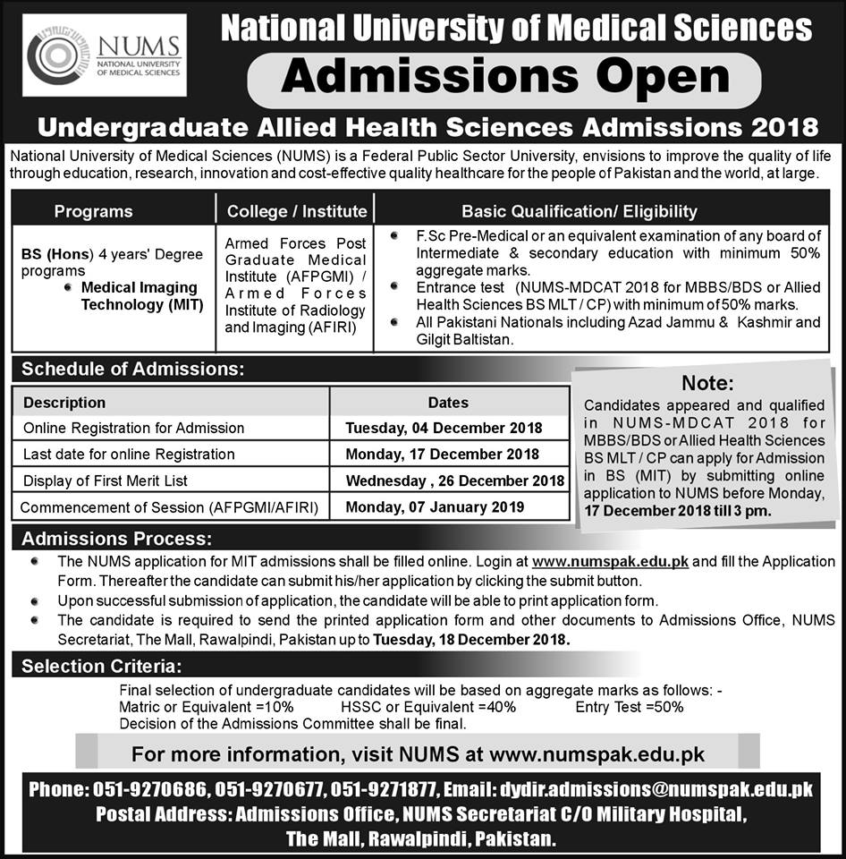 Admission Open for Allied Health Sciences 2018 for Candidate Applying on the basis of Result of NUMS MDCAT-2018