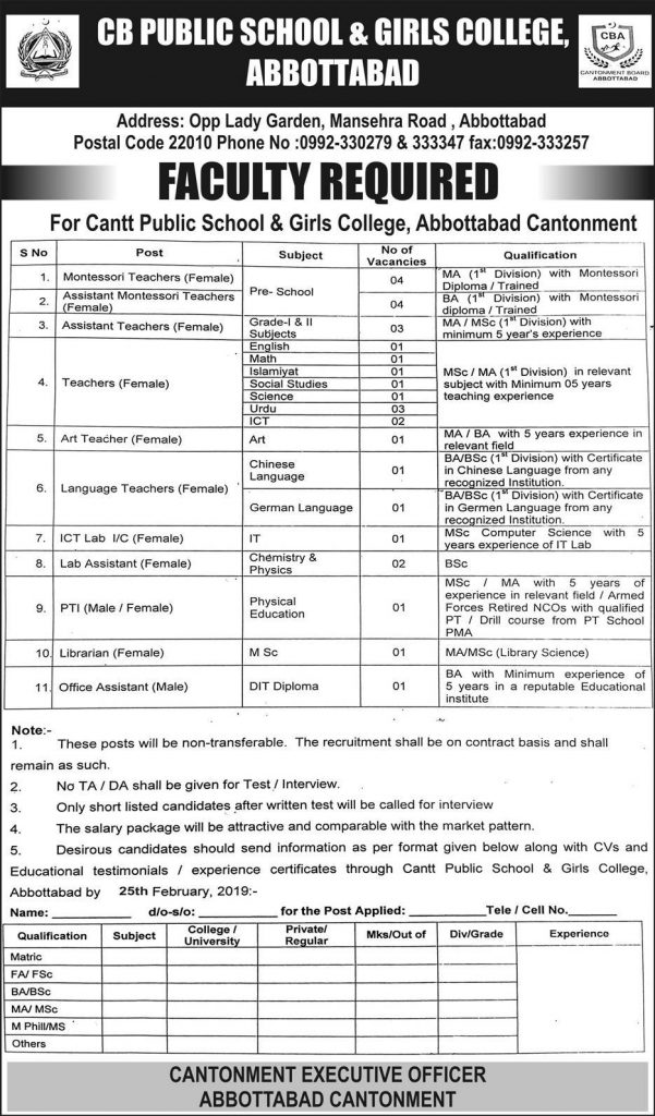 GB PUBLIC SCHOOL GIRLS COLLEGE JOBS