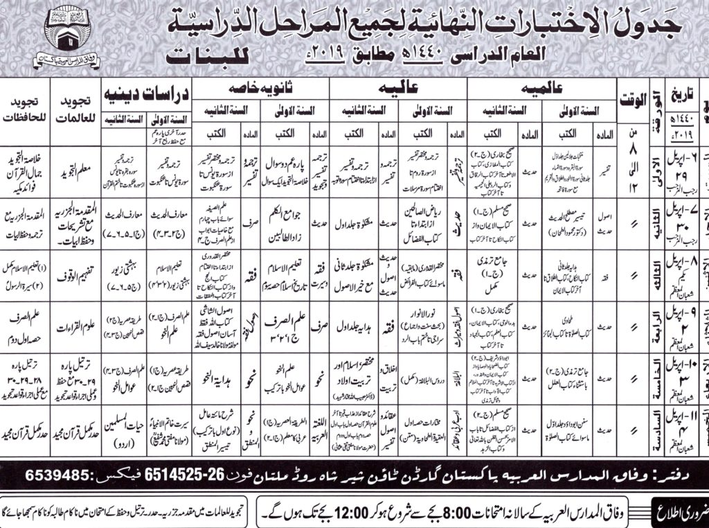 Wifaq ul Madaris Arabia Date Sheet 2019