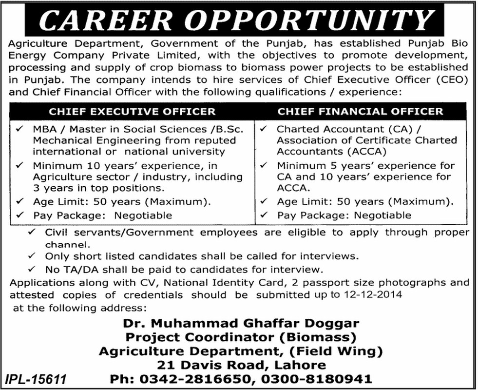 Agriculture Department jobs in punjab