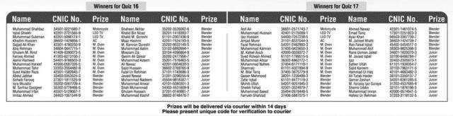 Orient Winners for Quiz 16 Winners for Quiz 17