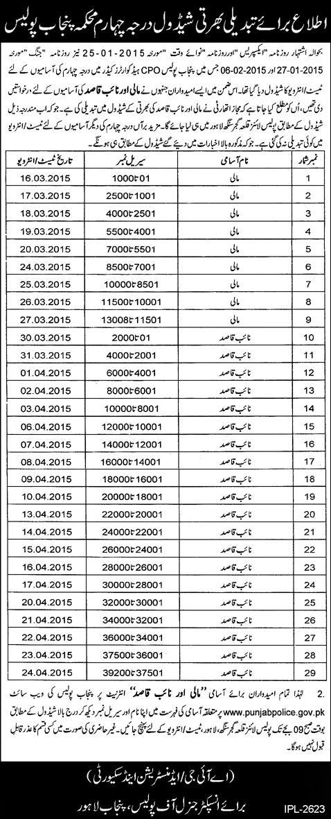 Punjab Police Revised Schedule of interview