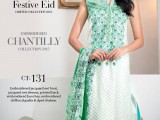 Gul Ahmed white dress with Green Shad