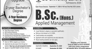 GC University Lahore B.Sc Admissions 2020
