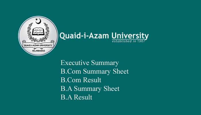 Quaid-i-Azam University (QAU) B.A/B.Sc Result