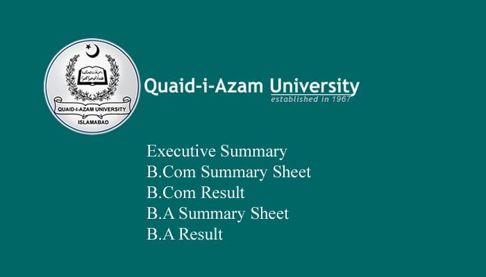 Quaid-i-Azam University (QAU) B.A/B.Sc Result