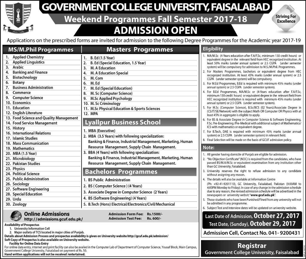 gc university faisalabad weekend programs admission