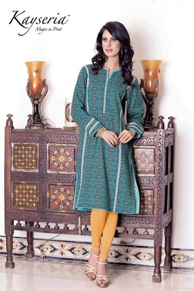 Green kurti with yellow tights by kayseria