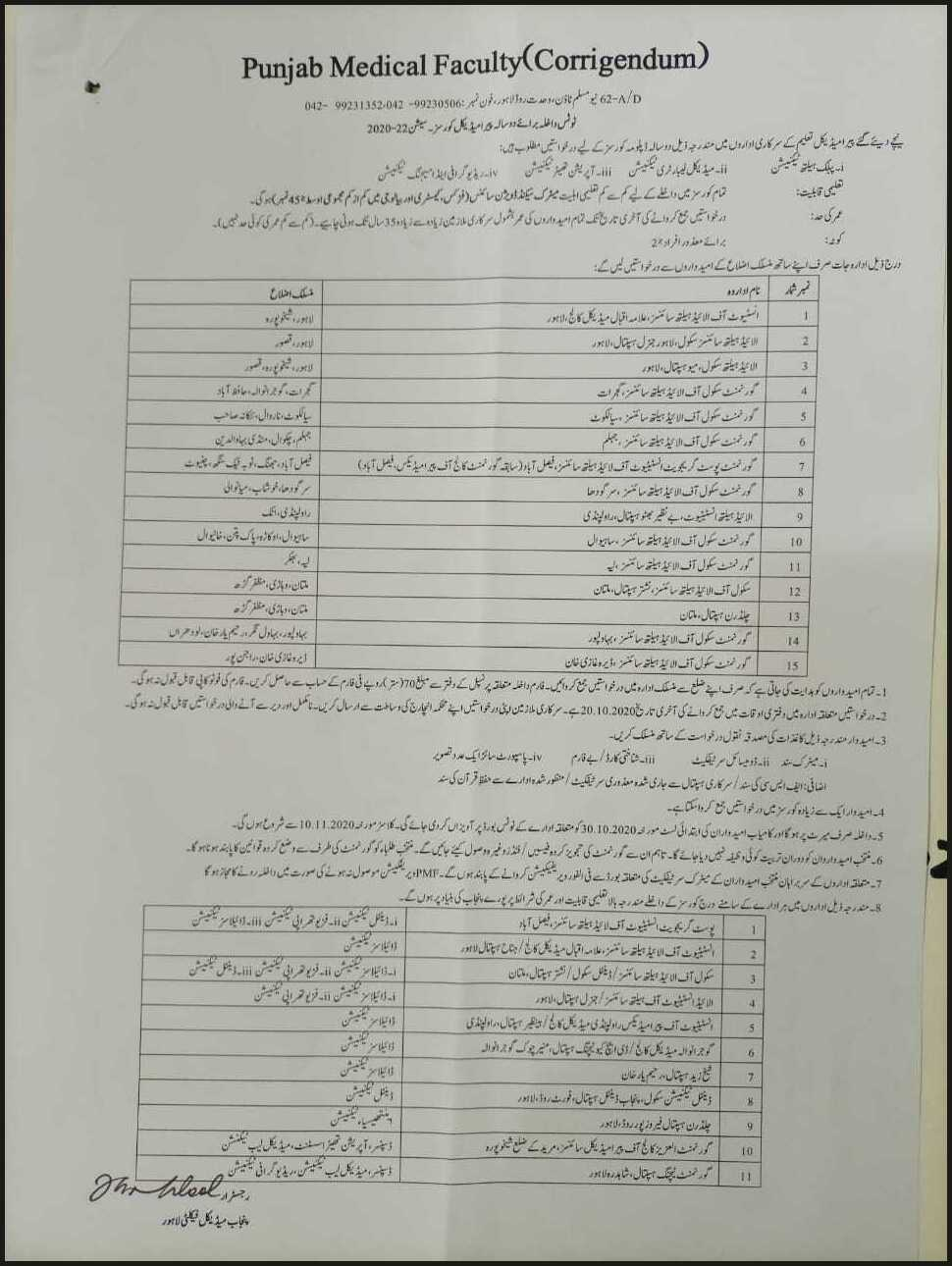 Punjab Medical Faculty (PMF) Affiliated Institutes List 2020
