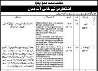 Health Department Jobs in District Okara