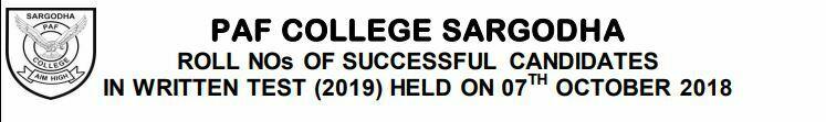 paf college sargodha result