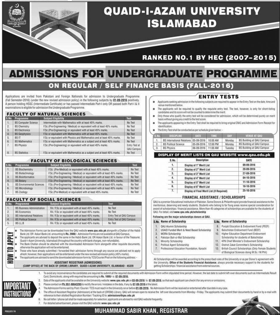 quaid azam university admission 2016