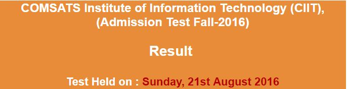 COMSAT Admission NTS Test result 2016