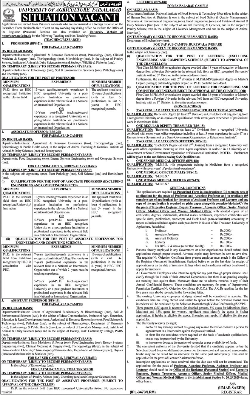 University of Agriculture Faisalabad (UAF) Jobs 2020