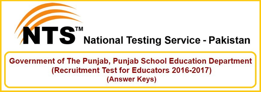 Answer keys of nts Test for Educators 2016-2017