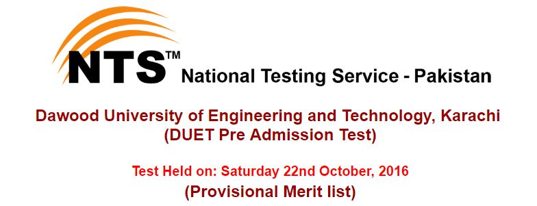 DUET Pre Admission Test result