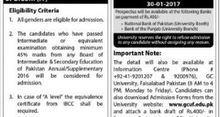 Government College University Faisalabad ADMISSION