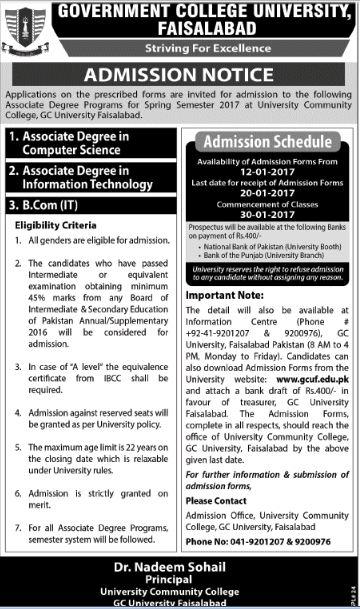 Government College University Faisalabad ADMISSION