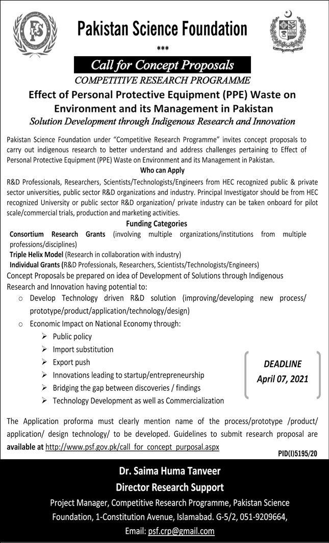 Pakistan Science Foundation(PSF) Competitive Research Programme Online Apply