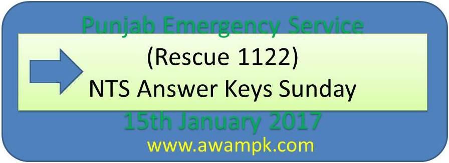 Punjab Emergency Service (Rescue 1122) answer keys